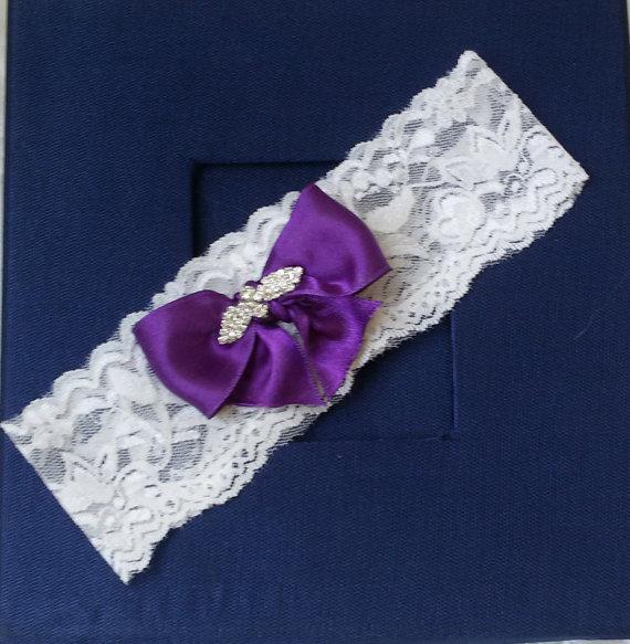 Hochzeit - Wedding Garter , Ivory Lace Garter, Bridal Leg Garter,Rustic Wedding Garter, Bridal Accessory, Purple Ribbon Bridal Garter