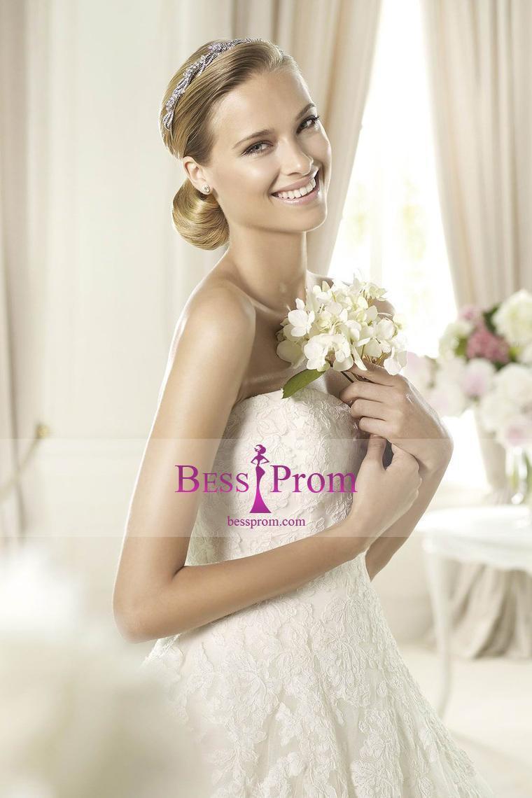 زفاف - sweetheart 2015 a-line tulle applique wedding dress - bessprom.com