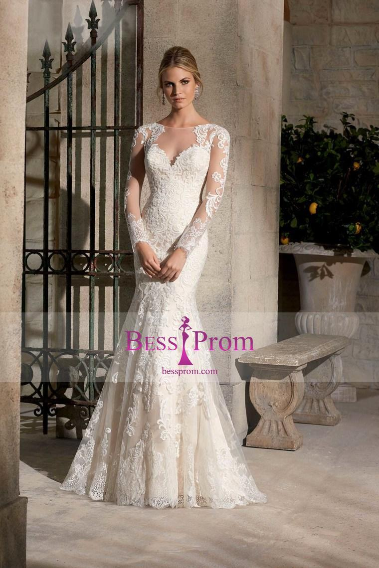 Wedding - bateau applique mermaid/trumpet court 2015 wedding dress - bessprom.com