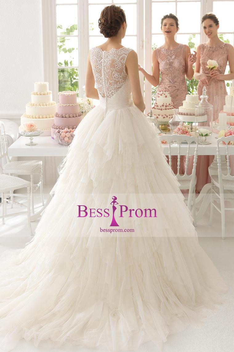 Wedding - tulle 2015 court train layered bateau wedding dress - bessprom.com