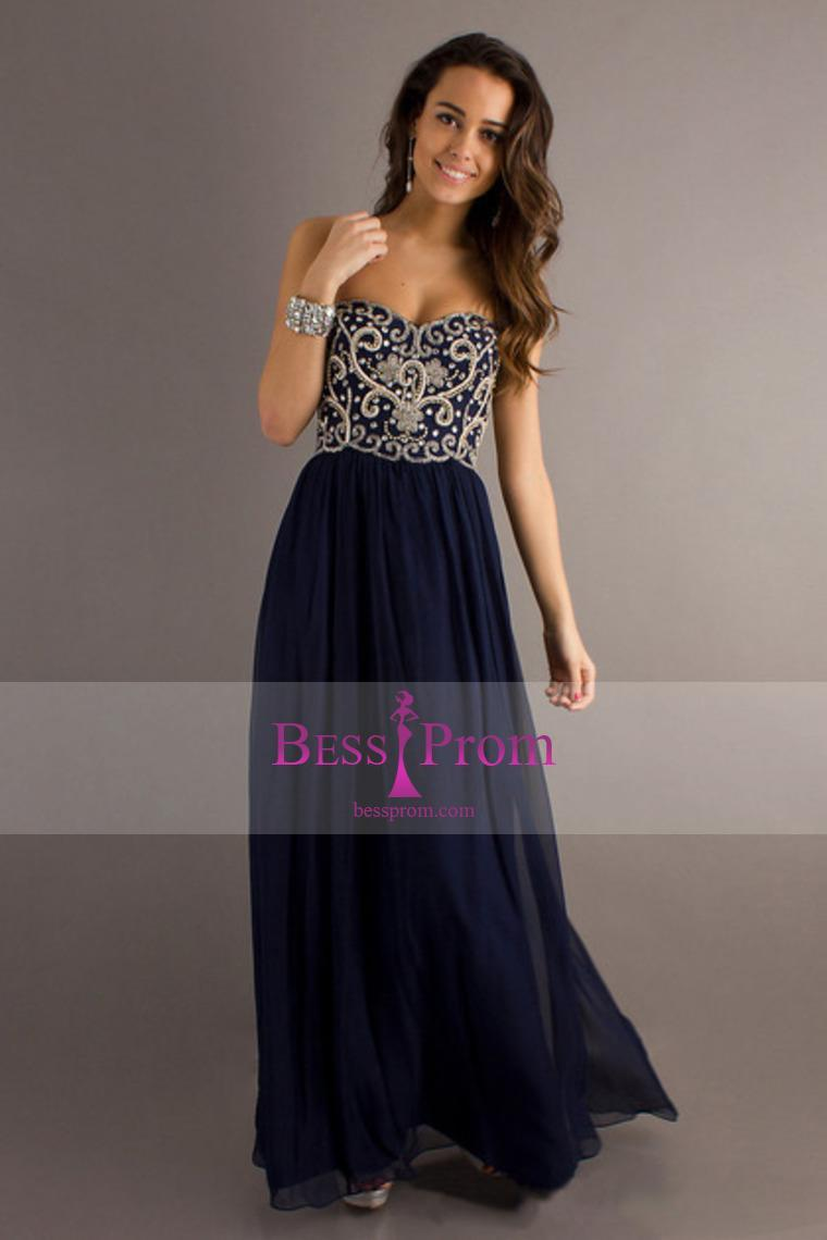 Wedding - crystals long dark navy 2015 silver prom dress - bessprom.com