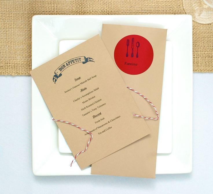 """Wedding - Red And """"Kraft Paper"""" Brown Dinner Party"""