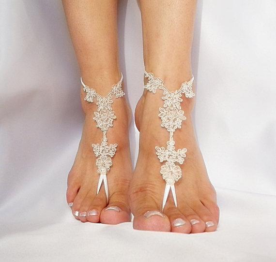 Boda - bridal anklet, raw slik color ivory frame Beach wedding barefoot sandals, bangle, wedding anklet, free ship, anklet, bridal, wedding