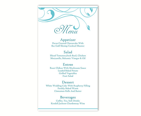 Wedding Menu Template DIY Menu Card Template Editable Text Word File  Instant Download Blue Menu Leaf Menu Template Printable Menu 4x7inch  Editable Leaf Template
