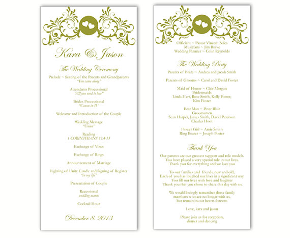 Mariage - Wedding Program Template DIY Editable Text Word File Download Program Green Wedding Program Heart Program Printable Wedding Program 4x9.25