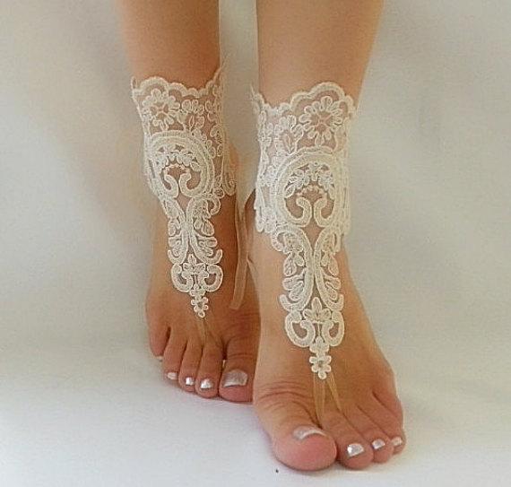 زفاف - bridal anklet, raw slik color ivory frame Beach wedding barefoot sandals, bangle, wedding anklet, free ship, anklet, bridal, wedding