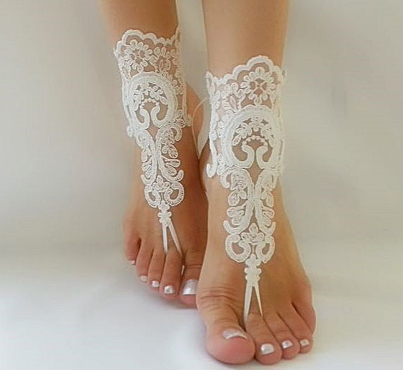 زفاف - bridal anklet, ivory Beach wedding barefoot sandals, bangle, wedding anklet, free ship, anklet, bridal, wedding