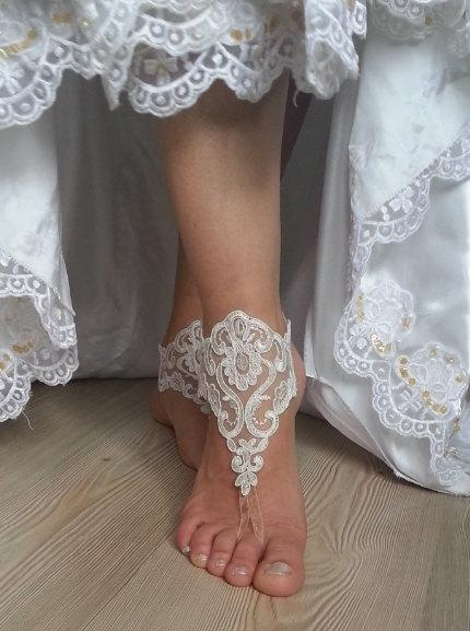 Hochzeit - ivory Beach wedding barefoot sandals