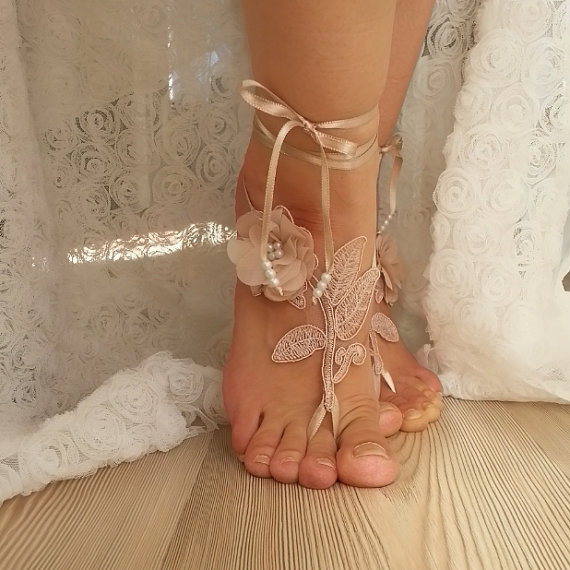 Hochzeit - Champagne beaded, pearl frame Beach, wedding barefoot sandals, rustic Barefoot Sandals, Sexy, Anklet , Bellydance, Steampunk, Beach Pool