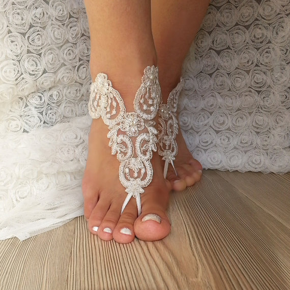 Hochzeit - ivory Barefoot silver frame , french lace sandals, wedding anklet, Beach wedding barefoot sandals, embroidered scaly beaded pearls sexy