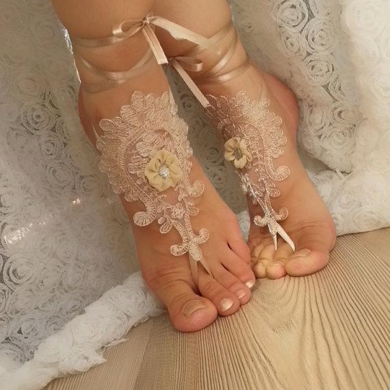 زفاف - Champagne silver framed flowering Barefoot , french lace sandals, wedding anklet, Beach wedding barefoot sandals, embroidered sexi sandals.