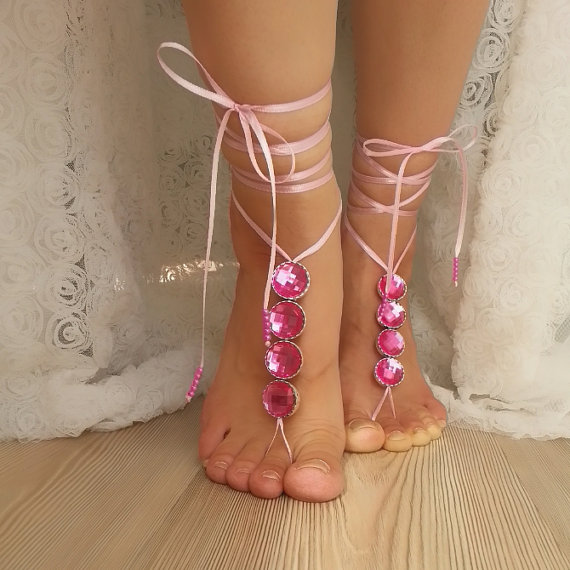 Mariage - Candy pink rhinestone anklet, FREE SHIP Beach wedding barefoot sandals, Steampunk, Beach Pool, Sexy, Yoga, Anklet , bellydance bridal party