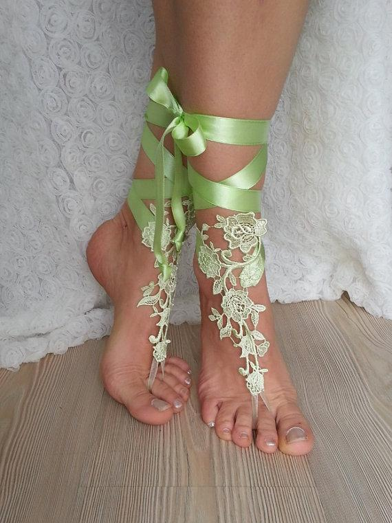 Свадьба - bridal anklet , light green Beach wedding barefoot sandals, bangle, wedding anklet, free ship, anklet, bridal, wedding