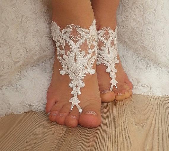 Свадьба - bridal anklet, white Beach wedding barefoot sandals, bangle, wedding anklet, free ship, anklet, bridal, wedding