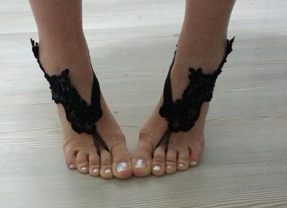 Wedding - bridal anklet, Beach wedding barefoot sandals, gothic , yoga, bellydance, steampunk, black anklet, wedding shoes, summer wear
