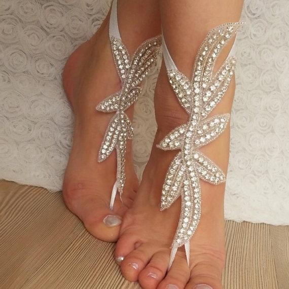 Wedding - Rhinestone anklet, FREE SHIP Beach wedding barefoot sandals, Steampunk, Beach Pool, Sexy, Yoga, Anklet , Bellydance