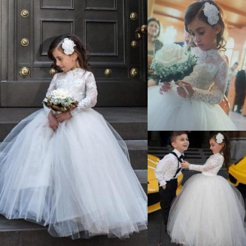263370cace25f 2015 New Lovely Lace Applique High Neck Wedding Flower Girl Dresses Ball  Gown Little Girl Birdal Dress Floor Length Princess Girl Dresses Online  with ...