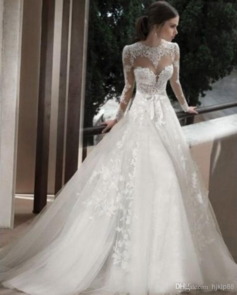 Cathedral Wedding Gowns: 2014 Sheer Jewel Bridal Wedding Gowns With Long Sleeves