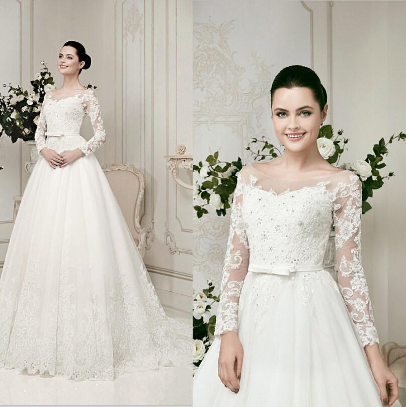Wedding - Bateau Neck Illusion Lace Long Sleeves Wedding Dresses 2015 Tulle Applique Beaded Bow Backless Garden Wedding Gowns A Line Bridal Gowns Online with $112.88/Piece on Hjklp88's Store