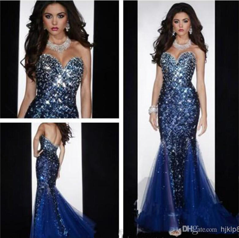 Boda - Sexy Mermaid Sweetheart Open Back Crystals Beaded Sequined Diamond Organza Prom Gown Evening Dresses Online with $104.82/Piece on Hjklp88's Store