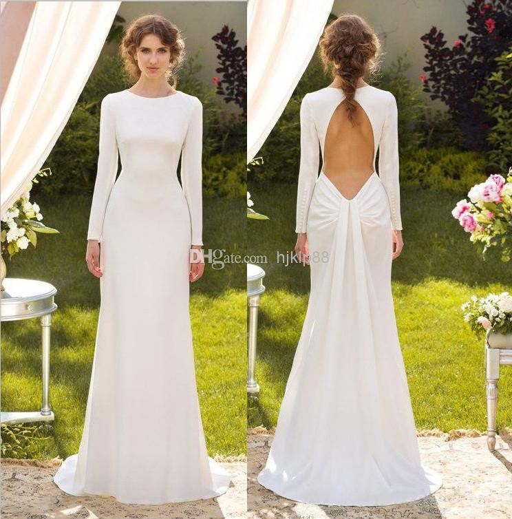 2014 Concise Elegant White Long Sleeve Sheath Wedding Dresses Jewel ...