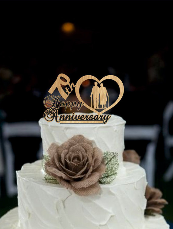Wedding - 70 th Anniversary Cake Topper Personalized - Rustic Wedding Cake Topper, 70 th Years Loved Anniversary Cake Topper