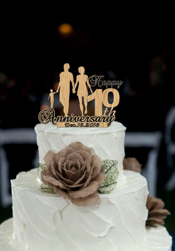 10 Th Anniversary Cake Topper Personalized Rustic Wedding Years Loved