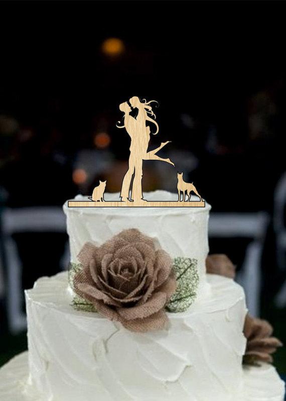 Wedding - Wedding Cake Topper Silhouette Couple, Dog and cat Cake Topper, Bride and Groom Cake Topper - cake decor