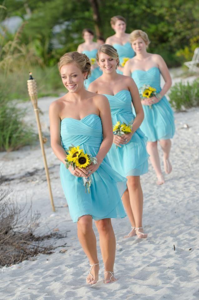 547341ae958 Blue Bridesmaid Dress A Line Sweetheart Knee Length Chiffon Sky Light Blue  Summer Beach Bridesmaid Dresses From Meetdresses