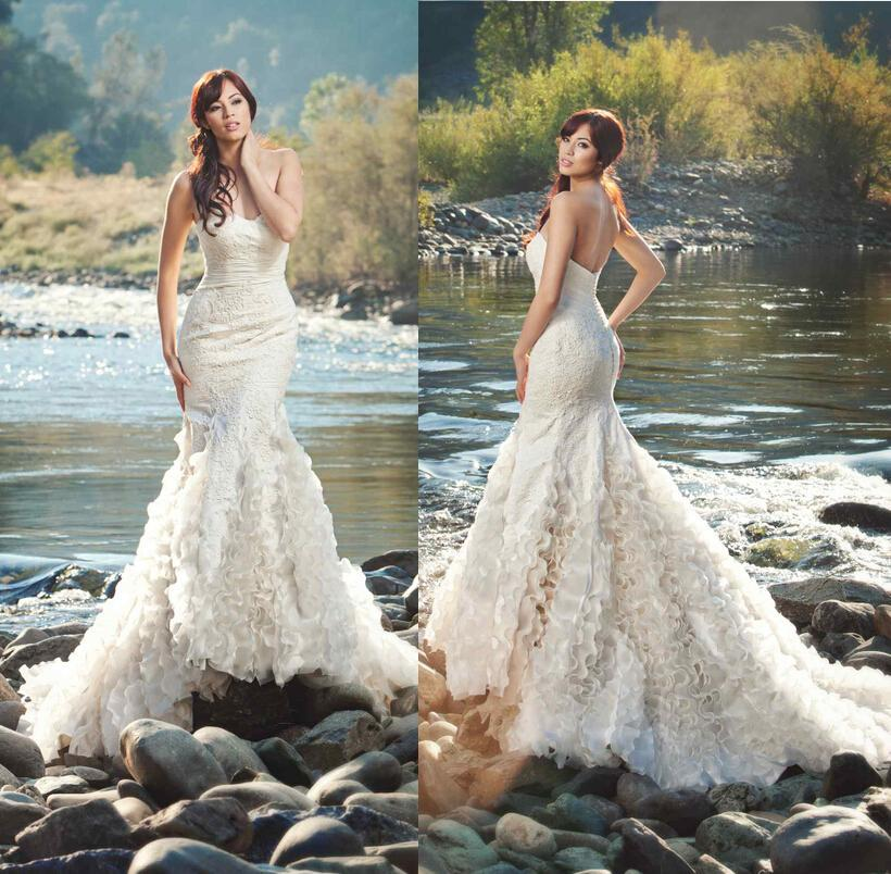 2015 new arrival mermaid wedding dresses strapless organza for Wedding dresses for outside
