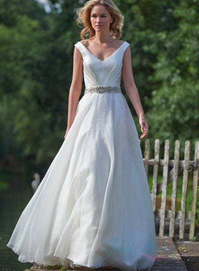 زفاف - JW16080 simple strappy v neck full a line chiffon wedding dress