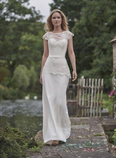 JW16082 Morden Cap Sleeved Keyhole Back Peplum Sheath Wedding Dress