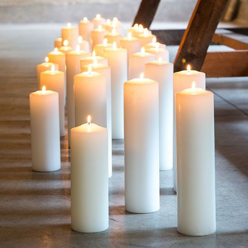 Wedding - Round Pillar Candles - Thick Medium