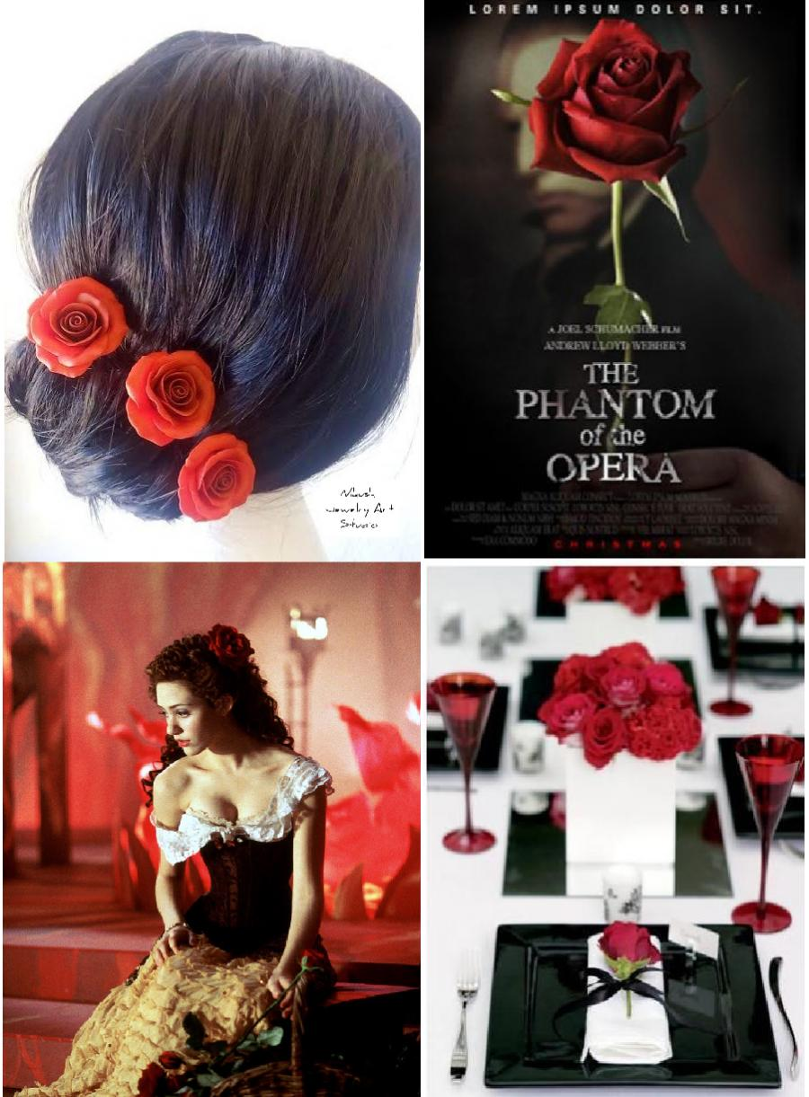 Wedding - Red Roses Hair Pins
