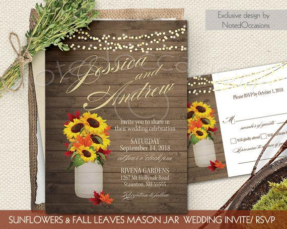 fall wedding invitations set sunflowers fall leaves rustic mason, Wedding invitations
