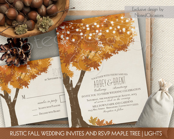 rustic fall wedding invitations kit autumn oak tree wedding with rustic tree leaves fall wedding invitation digital printable wedding set - Printable Wedding Invitation Kits