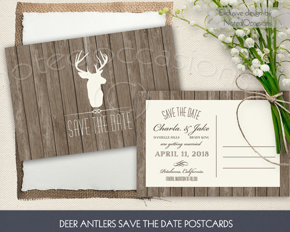 Rustic Deer Antler Save The Date Card Or Postcard Printable ...