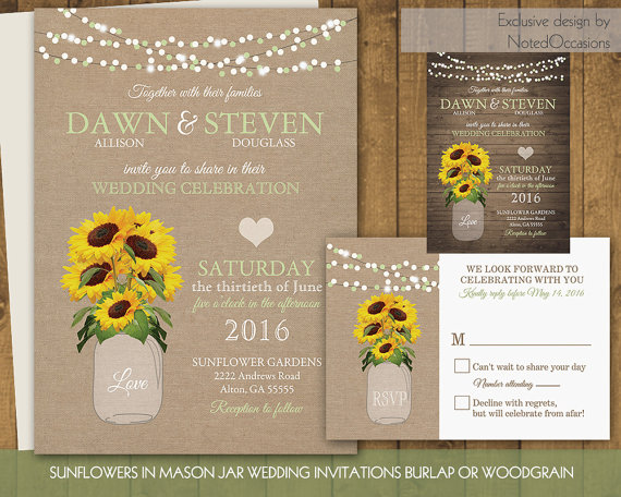 sunflower wedding invitations set sunflowers in rustic mason jar on burlap or country wood digital printable sunflower wedding diy files - Sunflower Wedding Invitations