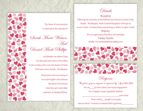 Wedding - DIY Wedding Invitation Template Set Editable Text Word File Download Red Wedding Invitation Heart Invitation Printable Pink Invitation