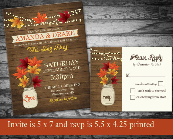 Fall Wedding Invitations Rustic Mason Jar Country With Leaves And Lights On Wood Grain Background Diy Printable