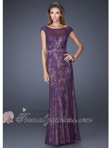 Свадьба - Chic Purple Sheer Scoop Neck Cap Sleeve Fitted Lace Formal Gown