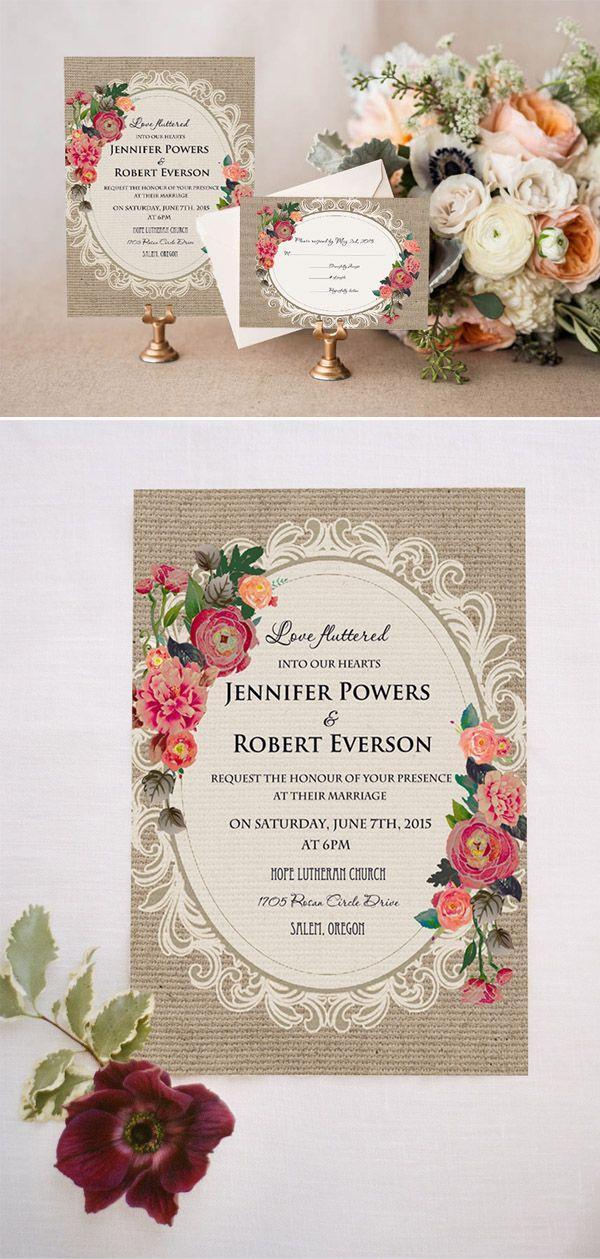 Wedding - Cheap Vintage Rustic Roses Wedding Invitations EWI397