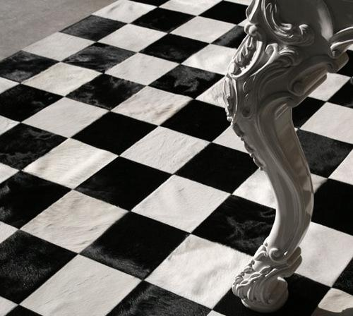 Wedding - GENUINE CHECKERS BLACK AND WHITE COMBINATION PATCHWORK COWHIDE RUG BY ZAPPRIX (TM)