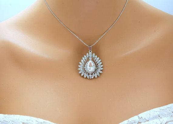 Wedding - Bridal Necklace, Wedding Crystal Necklace, Silver Rhinestone Necklace, Bridal Wedding Jewelry