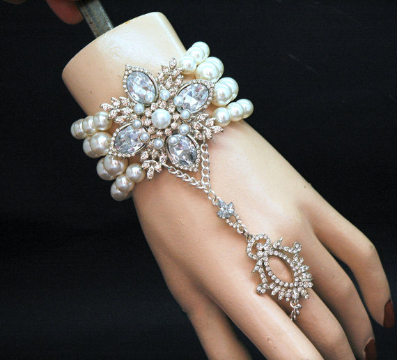 Gatsby Bracelet Pearl Slave Crystal Bridal 1920 S Hand Chain Ring With