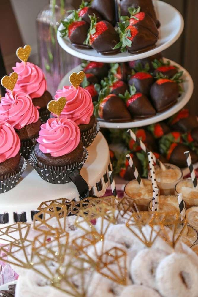 black white pink gold bridalwedding shower party ideas