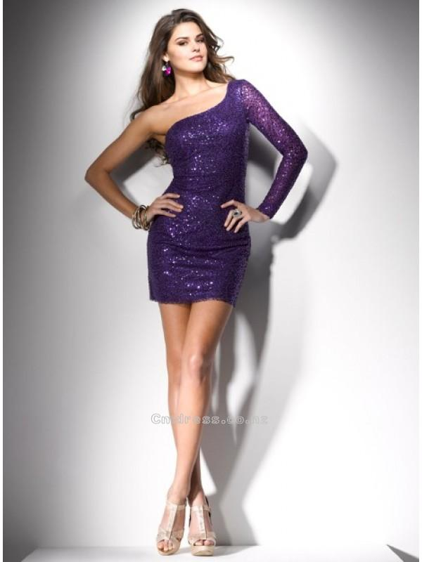 Hochzeit - Gorgeous Sheath One-Shoulder Sequins Mini-Length Prom DressSKU: PD00092-FL