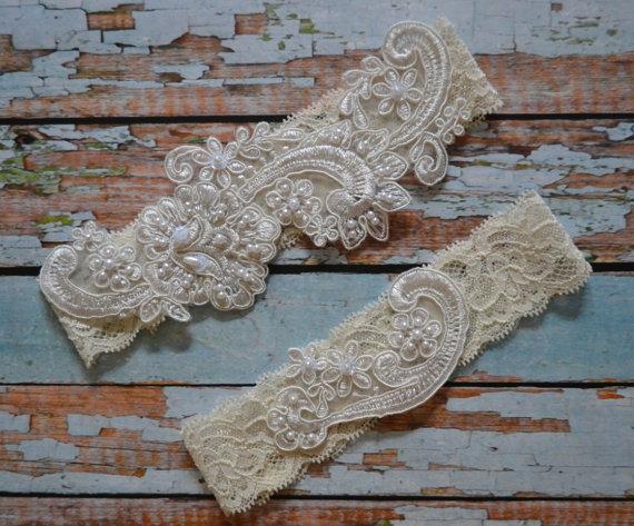 Lace Wedding Garter Set Ivory Beaded Bridal Vintage Style Garters