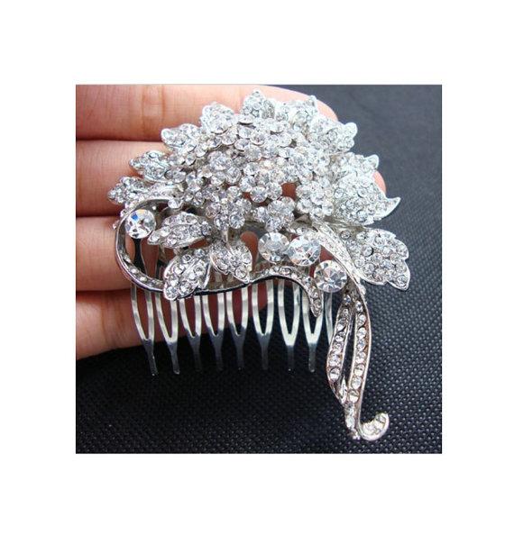Wedding - Rhinestone Bridal Head Piece Comb, Austrian Crystal Leaf Headpiece, Rhinestone Wedding Hair Comb, Wedding Headpiece
