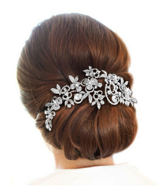 Mariage - Rhinestone Bridal Head Piece, Wedding Hair Comb, Swarovski Rhinestone Headpiece, Large Rhinestone Wedding Hair Comb, Wedding Headpiece